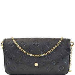 LOUIS VUITTON Pochette Felicie Monogram Empreinte Chain Wallet Black