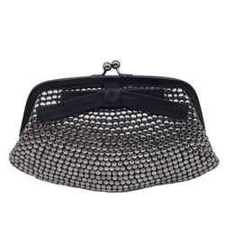 Moschino Studded Black Satin Clutch with Bow