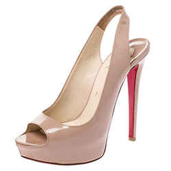 Christian Louboutin Beige Patent Leather Private Number Peep Toe Slingback Sa...