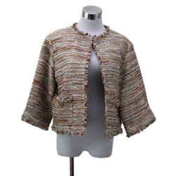 Chanel Orange Gold Metallic Tweed Jacket sz 14
