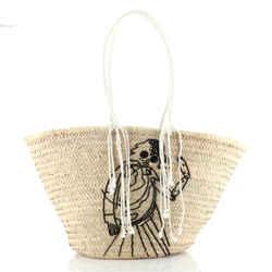 Classic Panier Bucket Bag Limited Edition David Kramer Sequin Embellished Woven Raffia