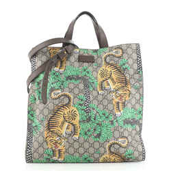 Convertible Soft Open Tote Bengal Print GG Coated Canvas Tall