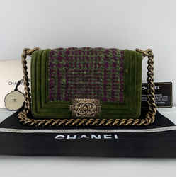 CHANEL Velvet and Quilted Plaid Tweed Small Boy in Green