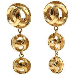 Chanel Gold Tone Cc Logo Drop Clip On Earrings