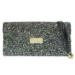 Auth Jimmy Choo Sequin One Shoulder Party Bag Silver Leather