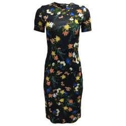 ERDEM Black Floral Print Cocktail Dress