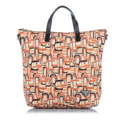 Vintage Authentic Prada Orange Nylon Fabric Tessuto Stampato Tote Bag ITALY