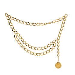 Vintage Medallion Chain Belt Metal 90