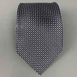 ERMENEGILDO ZEGNA Couture Charcoal & White Dots Silk Tie