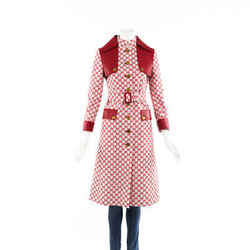 Gucci Coat Red GG Supreme Cotton Leather Belted Trench SZ 38