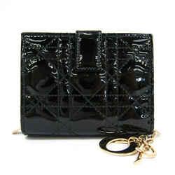 Christian Dior Women's  Enamel Leather Wallet (bi-fold) Black BF518122