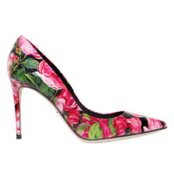 Dolce & Gabbana Rose Print Pointy Toe Pumps Pink 7 Authenticity Guaranteed