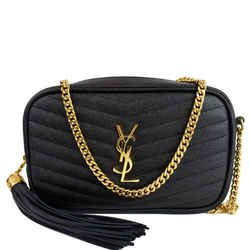Yves Saint Laurent YVES SAINT LAURENT Mini Lou Grain De Poudre Camera Bag Black