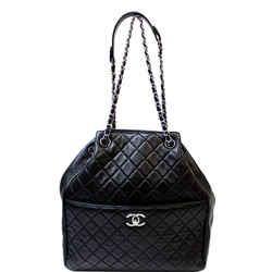 Chanel Drawstring Bucket Quilted Lambskin Leather Shoulder Bag Black
