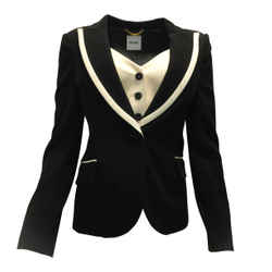 Moschino Black & Ivory Wool Tuxedo Blazer