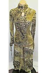 Classic Roberto Cavalli Animal Print Top W/ Ruching & Matching Skirt - Size 10