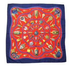 Vintage Authentic Hermes Red Silk Fabric Pourvu Quon Ait Livresse Scarf France