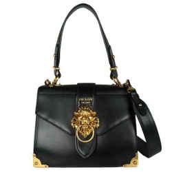 Prada Top Handle Cahier Lion Black Leather Shoulder Bag