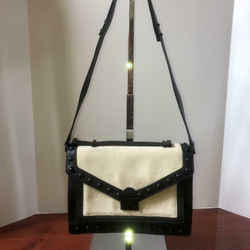 Loeffler Randall Rider Studs Cream and Black Leather/ Woven Canvas Satchel B143