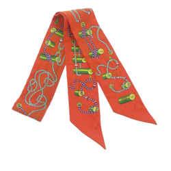 Vintage Authentic Hermes Orange Silk Fabric Printed Twilly Scarf France w/ Box