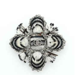 Paris-Edinburgh CC Cross Brooch Metal and Feather with Crystals