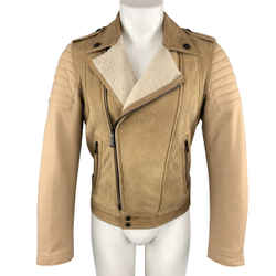 Just Cavalli Size 36 Tan Shearling & Wool Padded Biker Jacket
