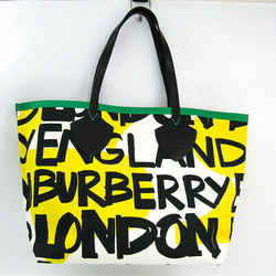 Burberry Graffiti Print 4075825 Unisex Canvas,leather Tote Bag Black,gr Bf508848