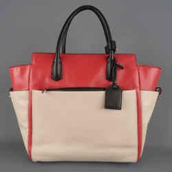 Reed Krakoff Red Black & Light Pink Leather Tote Handbag