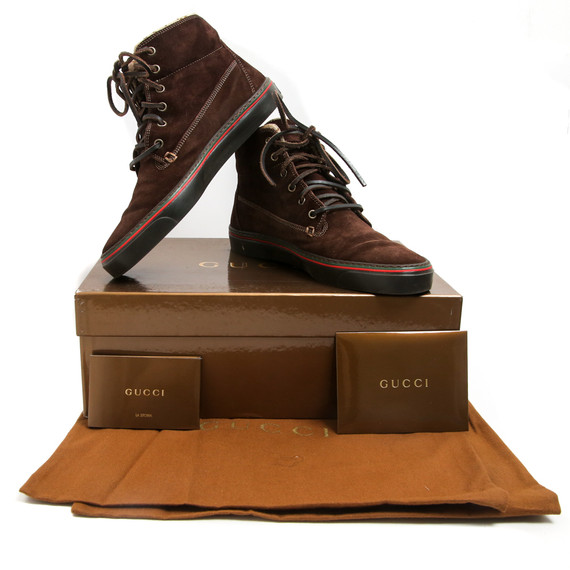 Gucci Brown Suede Monogram Lined High Top Sneakers