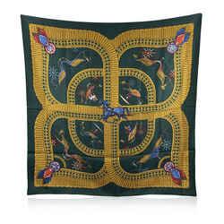 Hermes Vintage Green Silk Scarf Voitures Paniers 1984 Julie Abadie