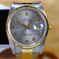 Rolex Datejust 16233 Silver Arabic Dial Fluted Bezel. With Certificate