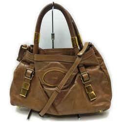 Chloe Brown Leather Victora 2way Tote Bag 862329