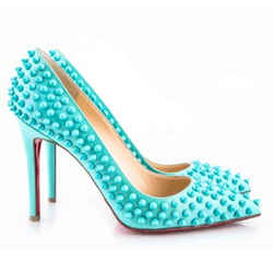 Christian Louboutin Patent Pigalle Spikes Pumps Turquoise