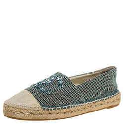 Chanel Green/Beige Canvas Sequin CC Espadrille Flats Size 39