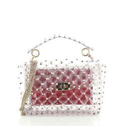 Rockstud Spike Flap Bag Quilted PVC Medium