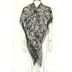 Alexander Mcqueen Floral Skull Print Black White Silk Print Scarf Square Large