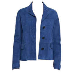 Burberry Dark Canvas Blue Suede Pepleigh Jacket Size 4 Us - Small $1695 Nwt Coat