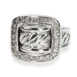 David Yurman Diamond Buckle Ring in Sterling Silver 0.40 CTW