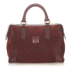 Vintage Authentic Celine Red Bordeaux Suede Leather Macadam Boston Bag France