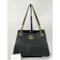 GUCCI Calfskin Matelasse Medium GG Marmont Black Leather Shoulder Bag B305