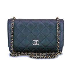 NIB 19S Chanel Iridescent Black-Purple Pearly CC Wallet on Chain WOC Flap Bag