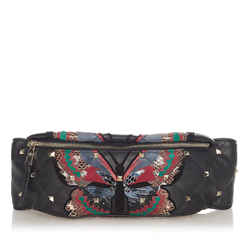 Vintage Authentic Valentino Blue Rockstud Leather Belt Bag Italy
