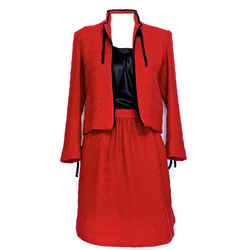 Very Pretty Chanel Vintage Couture Red Boucle Skirt Suit