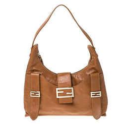 Fendi Tan Leather Logo Shoulder Bag