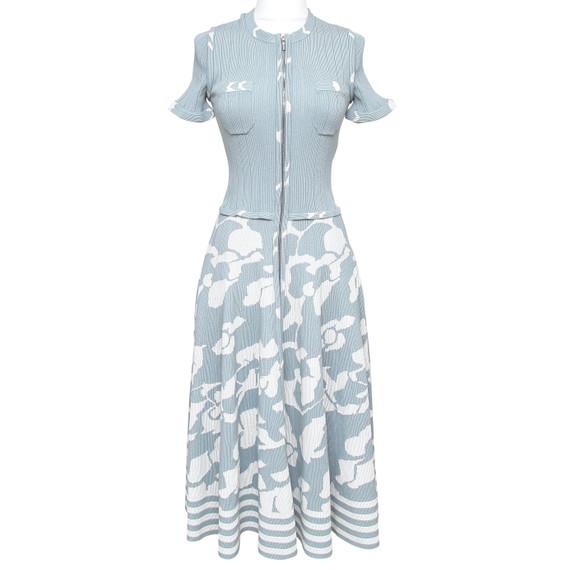 Chanel Knit Dress Midi Short Sleeve Blue White Zipper Crew Neck Sz 38 2016chanel Knit Dress Midi Short Sleeve Blue White Zipper Crew Neck Sz 38 2016