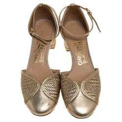 Salvatore Ferragamo Metallic Gold Woven Leather Edda Block Heel Sandals Size