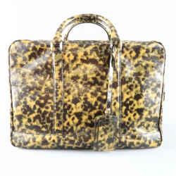 Emporio Armani Olive Camouflage Patent Leather Briefcase