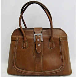 Tod's Satchel Shoulder Bag Pebbled Leather Tan Brown Logo Buckle Silvertone Hw