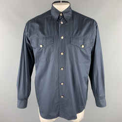 Vintage Versace Jeans Couture Size M Navy Cotton Embellished Buttons Long Sleeve Shirt