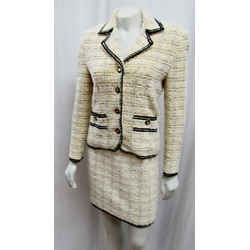 St John Collection Marie Gray 02 Vintage 2pc Tweed Jacket Skirt Suit Classic
